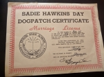Who asked you, or who did you ask to Sadie Hawkins? Dog Patch Certificate